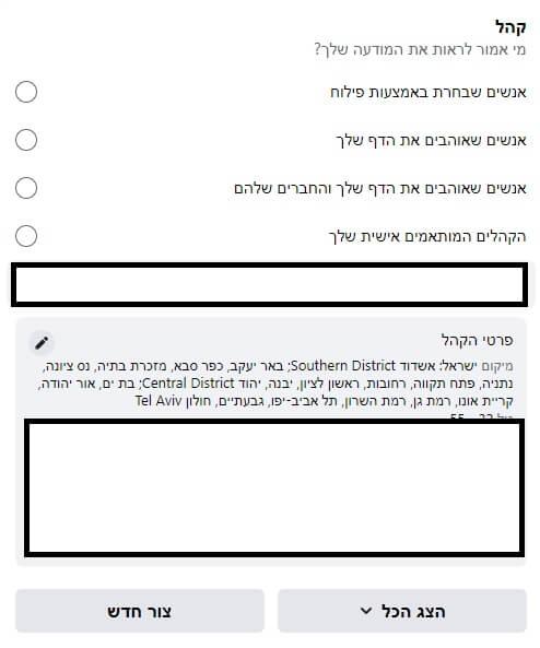 בחירת קהל למודעות פייסבוק