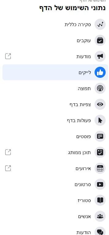 נתוני שימוש של דף פייסבוק2